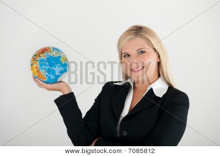 young business woman with globe