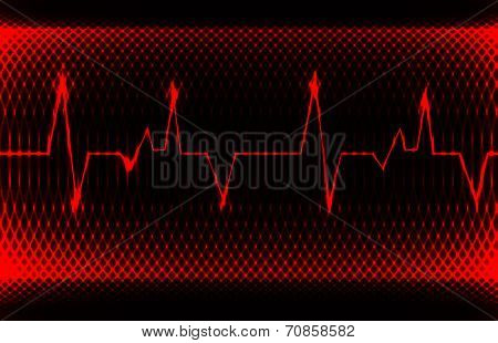 Colorful human heart normal sinus rhythm, electrocardiogram record. Bright and bold design