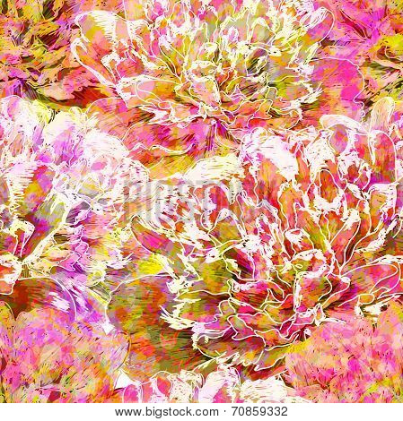 Seamless pattern, peony flowers. Vector, EPS10