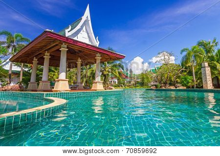 KOH KHO KHAO, THAILAND - 14 NOV 2012: Oriental architecture of Andaman Princess Resort & SPA. Hotel was destroyed by tsunami in 2004 and rebuild, Koh Kho Khao, Phang Nga in Thailand.