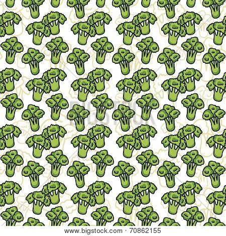 Vector seamless pattern of sketch broccoli. Illustration. Beautiful background.