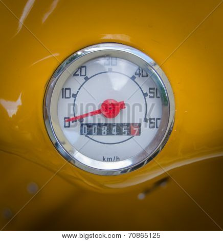Retro Mustard Yellow Scooter Odometer