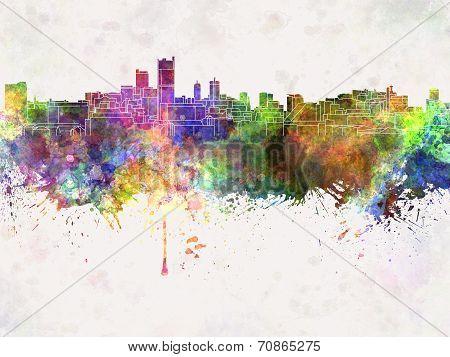 Leeds Skyline In Watercolor Background