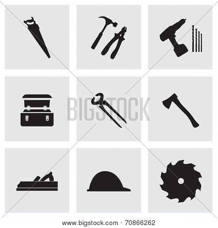Vector black carpentry icons set