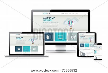 Stylish responsive web design development coding vector concept