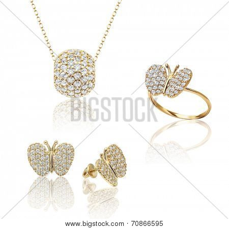 Best jewelry pendant and earrings set. Jewelry composition. Symbol of love