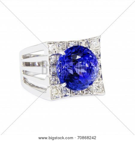 Designer Ring with Diamonds and Tanzanite, Side View, Isolated on White Background