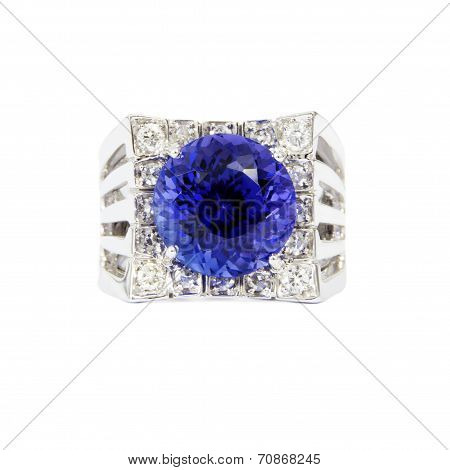 Designer Ring with Diamonds and Tanzanite, Front View, Isolated on White Background