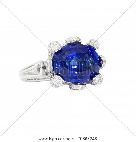 Designer Ring with Tanzanite Stone surrounded with Diamonds, Isolated on White Background