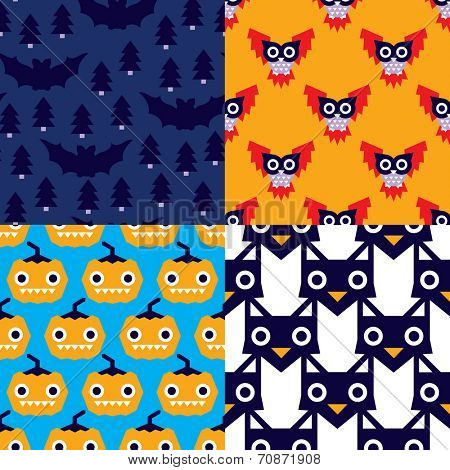 full moon and dark night halloween owls pumpkin and cats illustration background pattern in vector