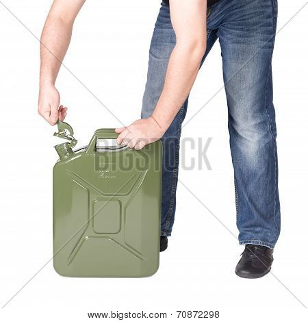 Man opening jerry can.