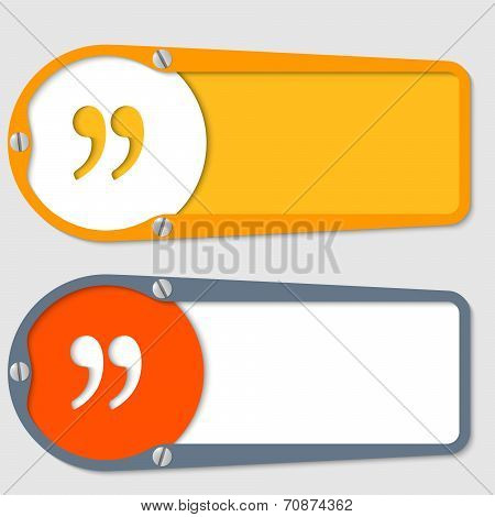Set Of Two Boxes For Any Text With Quotation Mark