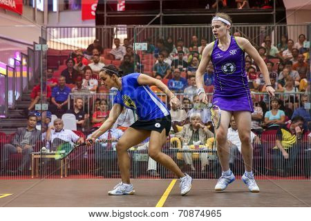 AUGUST 21, 2014 - KUALA LUMPUR, MALAYSIA: Raneem El Weweily of Egypt hits a  return in a match at the CIMB Malaysian Open Squash Championship 2014 held in Nu Sentral Mall.