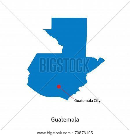 Detailed vector map of Guatemala and capital city Guatemala City