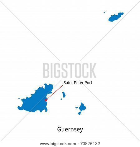 Detailed vector map of Guernsey and capital city Saint Peter Port