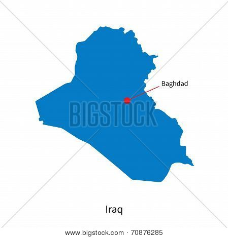 Detailed vector map of Iraq and capital city Baghdad