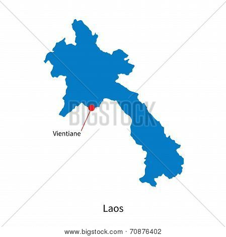 Detailed vector map of Laos and capital city Vientiane