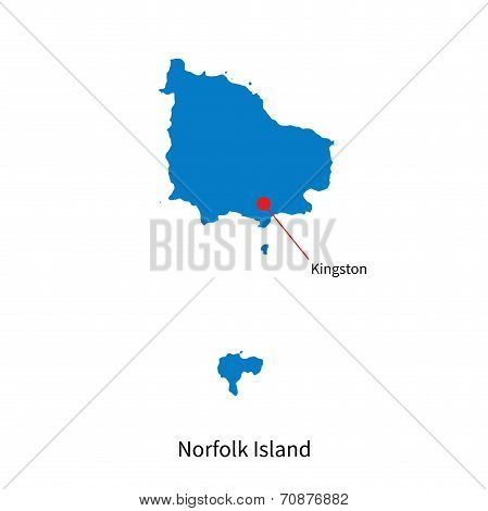 Detailed vector map of Norfolk Island and capital city Kingston