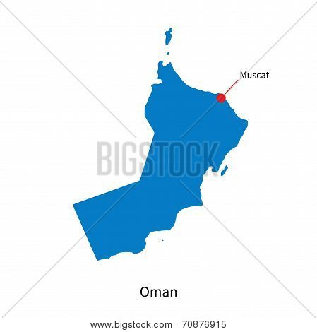 Detailed vector map of Oman and capital city Muscat
