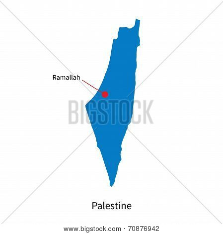 Detailed vector map of Palestine and capital city Ramallah