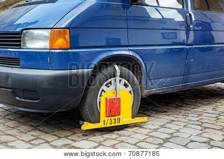 Wheel Lock Of Car On Street
