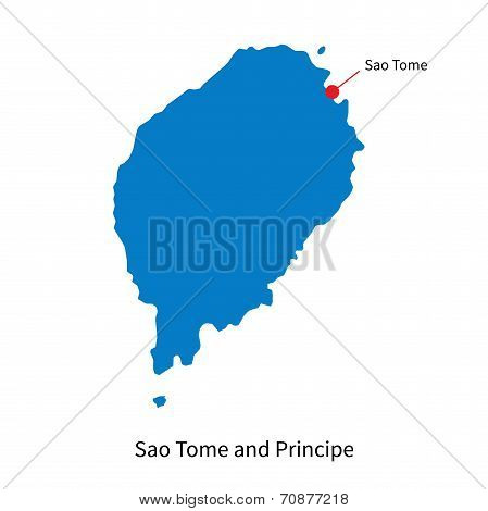 Detailed vector map of Sao Tome and Principe and capital city Sao Tome