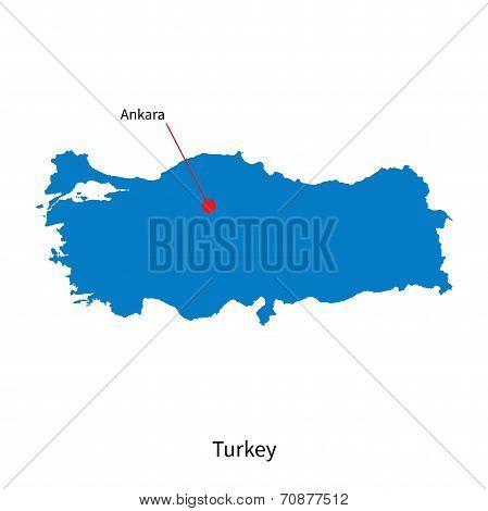 Detailed vector map of Turkey and capital city Ankara