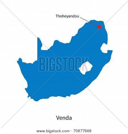 Detailed vector map of Venda and capital city Thohoyandou