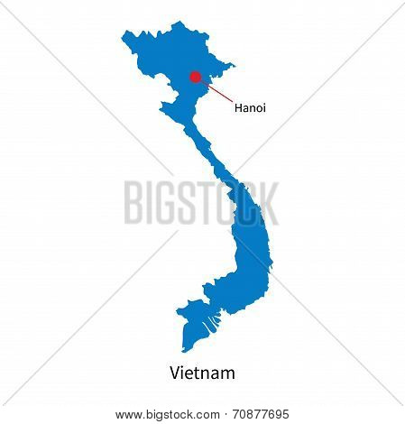 Detailed vector map of Vietnam and capital city Hanoi