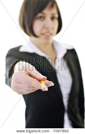Bosiness Woman Choosing Perfect Pencil