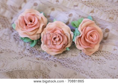 Romantic Style: Fashion Studio Shot Of A Floral Rose Bracelet (jewelery Made Of Polymer Clay)