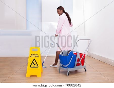 Female Housekeeper Cleaning Floor In Hotel