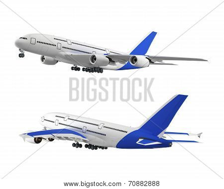 Passenger Airplane Isolated On White Background