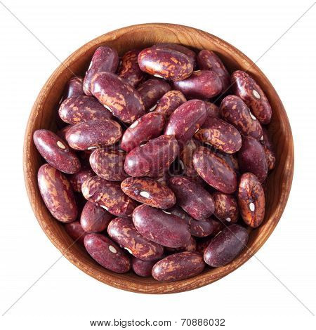 Wooden Bowl Full Of Red Speckled Kidney Beans Isolated On White