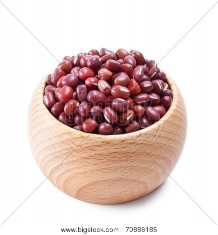 Wooden Bowl Full Of Adzuki Beans Isolated On White