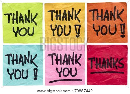 thank you and thanks -  a set of isolated crumpled sticky notes in different colors