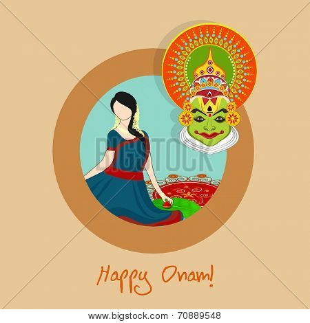 South Indian festival Happy Onam celebration with young beautiful girl and Indian cultural Kathakali dancer face on beige background.