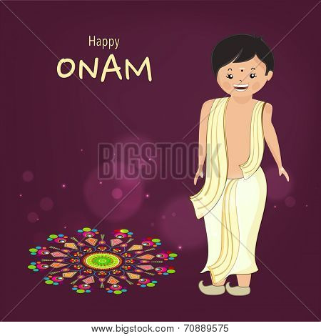Little cute boy wearing south indian dress and standing with very happyness for celebration of onam festival and beautiful colourful rangoli on dark purple background.