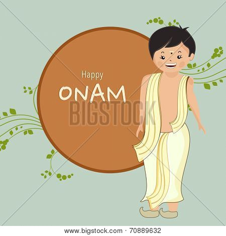 Cute little boy dressed up in traditional south Indian clothes on green and brown background for South Indian festival Happy Onam celebrations.