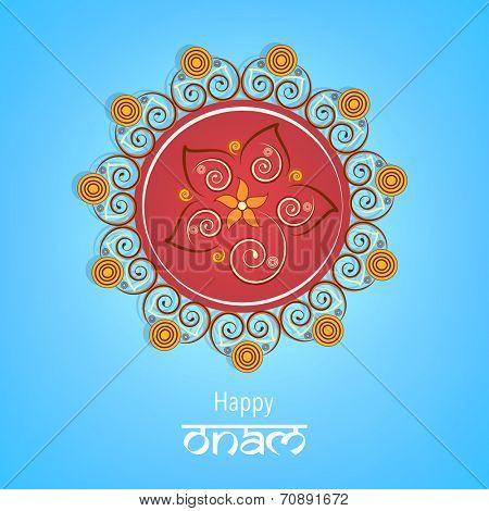Beautiful colourful rangoli for onam wishes with stylish text of happy onam on light blue background.