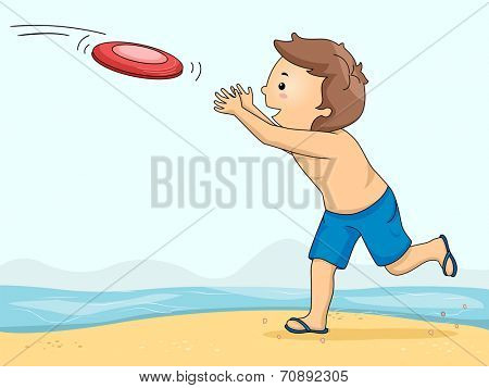 Illustration of a Boy Catching a Frisbee