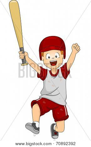 Illustration of a Boy Dressed in Baseball Gear Doing a Victory Jump