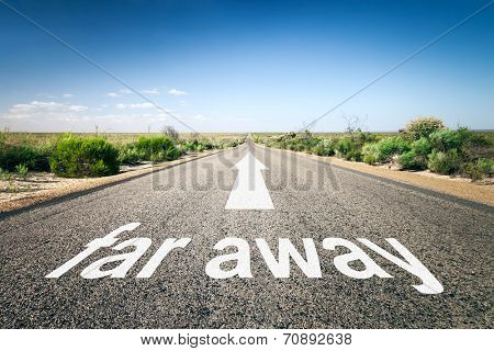 An image of a road to the horizon with text far away