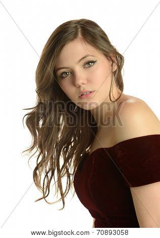 Young woman's portrait isolated on a white background