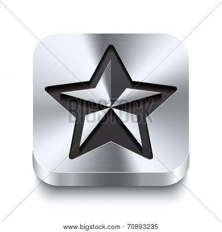 Square Metal Button Perspektive - Christmas Star Icon