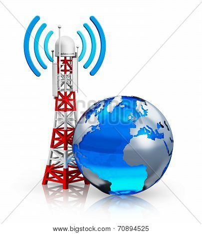 Global telecommunications concept