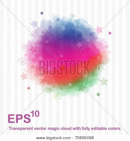 Vector magic cloud. Transparency on different backgrounds.