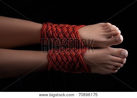 Two Female Legs Shibari.