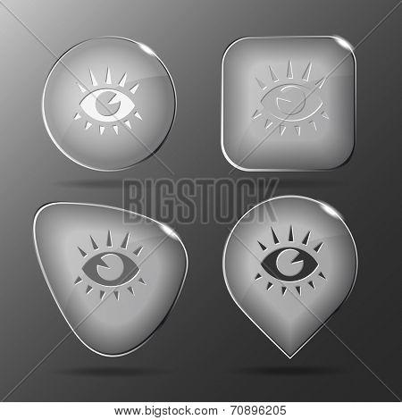 Eye. Glass buttons. Raster illustration.