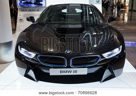Frankfurt, Germany - August 28, 2014: Photo Of Black Bmw Series I8 Innovation Car  Advertising Stand